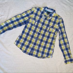 Tommy Hilfiger Purple and Yellow Plaid Button Up
